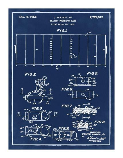 Football game piece, 1955-Blue-Bill Cannon-Giclee Print