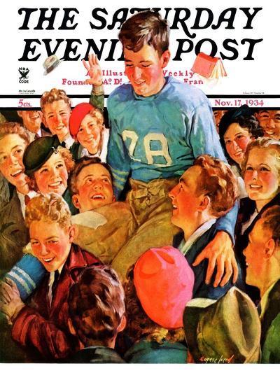 """Football Hero,"" Saturday Evening Post Cover, November 17, 1934-Eugene Iverd-Giclee Print"