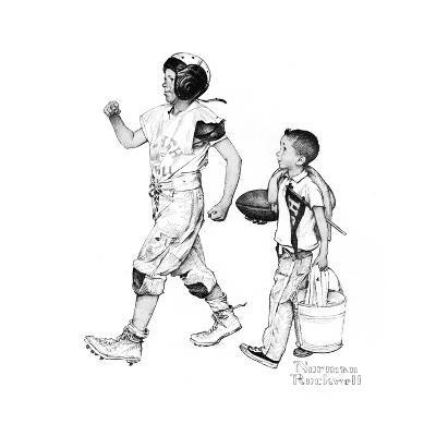 Football Hero-Norman Rockwell-Giclee Print