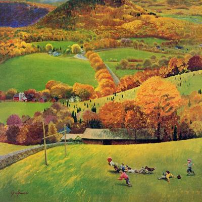"""""""Football in the Country"""", October 8, 1955-John Clymer-Giclee Print"""