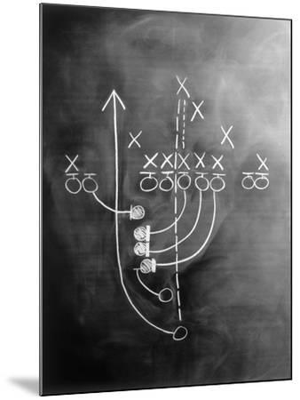 Football Play on Chalkboard-Howard Sokol-Mounted Photo