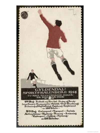 Footballer Leaps for the Ball on a Poster for a Norwegian Sports Calendar--Giclee Print