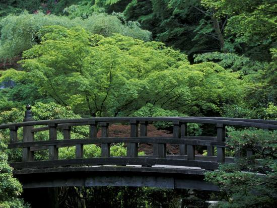 Footbridge in Japanese Garden, Portland, Oregon, USA-Adam Jones-Photographic Print
