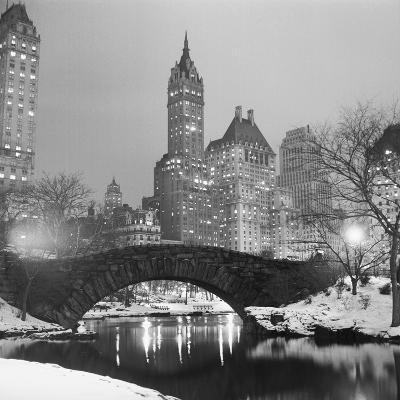 Footbridge in Snowy Central Park--Photographic Print