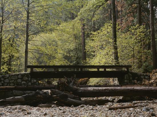 Footbridge over a Dry Stream in Yosemite-Marc Moritsch-Photographic Print