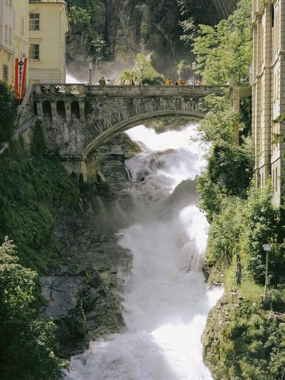 Footbridge over a Waterfall in Badgastein-Walter Meayers Edwards-Photographic Print