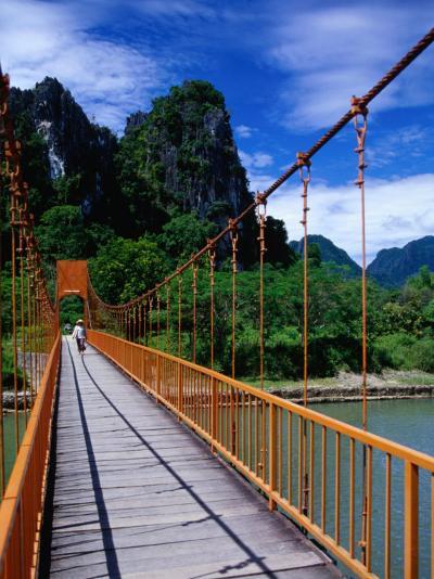 Footbridge Over Nam Sot River, Vang Vieng, Laos-Ryan Fox-Photographic Print