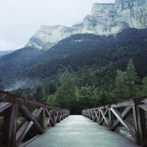 Footbridge Spanning the Base of a Valley