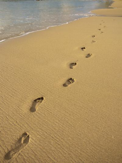 Footprints in the Sand on a Beach-Miller John-Photographic Print