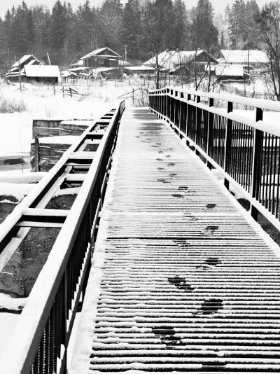 Footprints on the Bridge, Somino Village, Leningrad Region, Russia-Nadia Isakova-Photographic Print