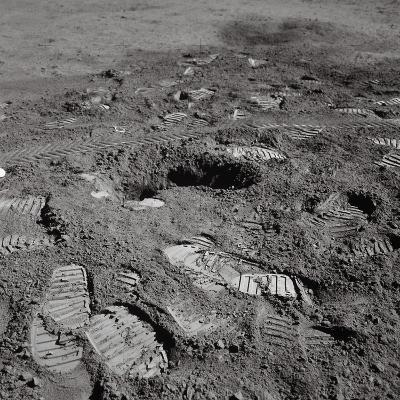 Footprints on the Surface of the Moon--Photographic Print