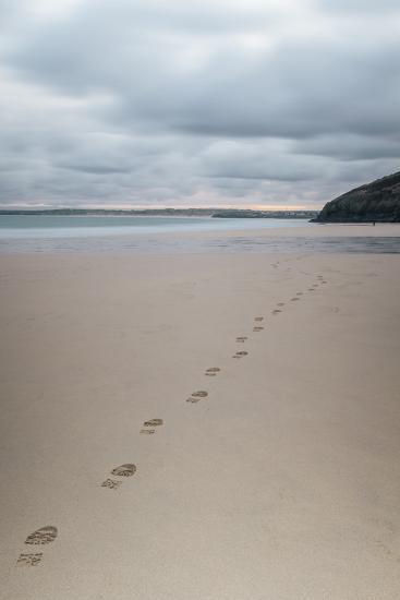 Footsteps in the Sand, Carbis Bay Beach, St. Ives, Cornwall, England, United Kingdom, Europe-Mark Doherty-Photographic Print