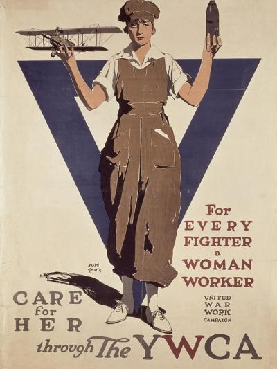For Every Fighter a Woman Worker, 1st World War Ywca Propaganda Poster-Adolph Treidler-Giclee Print