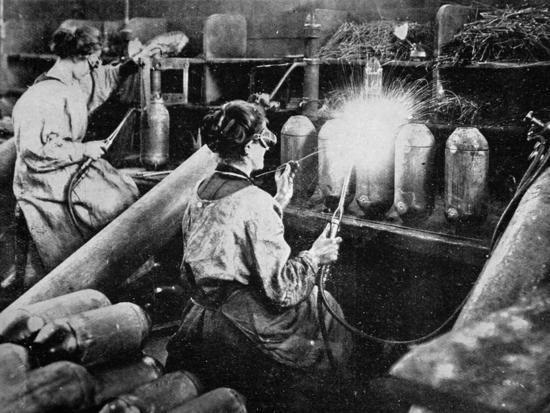 For General Petain's Guns, French Women Finishing Shell Cases, from 'The Illustrated War News'--Giclee Print