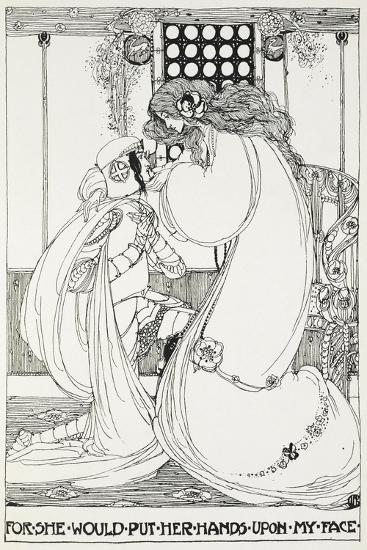 For She Would Put Her Hands Upon My Face - a Knight and Maiden-Jessie King-Giclee Print