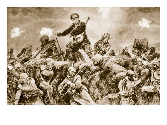 For the Glory of Raj: Indian Troops Charging the German Trenches at Neuve Chapelle--Giclee Print