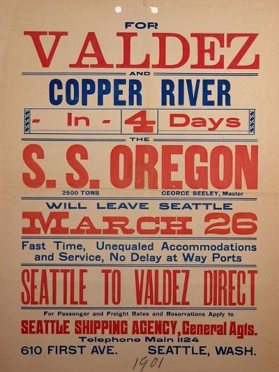 """""""For Valdex and Copper River"""", 1901--Giclee Print"""