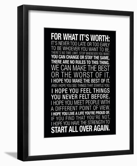 For What It's Worth Quote (Black) Motivational Poster--Framed Art Print