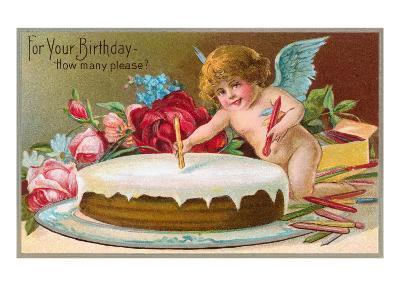 For Your Birthday, Cherub with Cake--Art Print