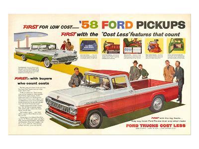 Ford 1958 `58 Ford Pickups--Art Print