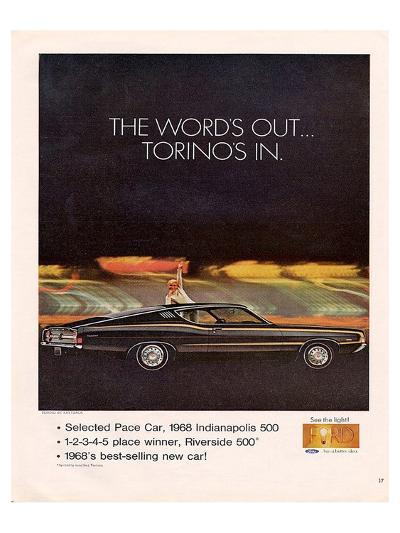 Ford 1968 Torino's In-Pace Car--Art Print