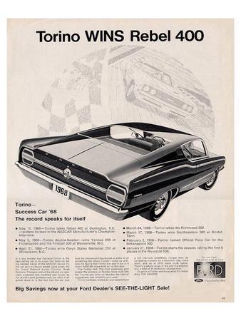 Ford 1968 Torino Wins Rebel400--Art Print