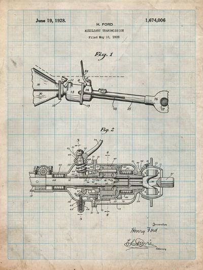 Ford Auxiliary Transmission Patent-Cole Borders-Art Print