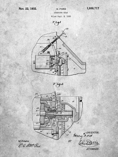 Ford Car Starter Patent-Cole Borders-Art Print