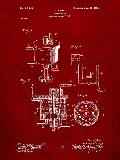 Ford Carburetor 1898 Patent-Cole Borders-Art Print