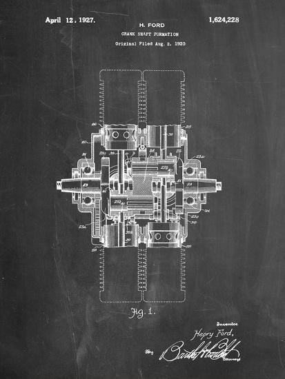 Ford Crank Shaft 1920 Patent-Cole Borders-Art Print