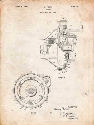 Ford Engine 1930 Patent-Cole Borders-Art Print