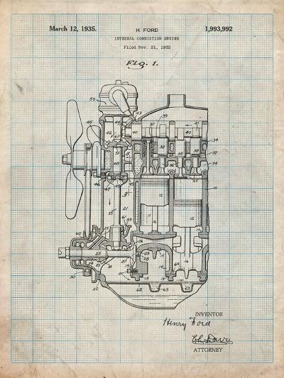 Ford Internal Combustion Engine Patent-Cole Borders-Art Print