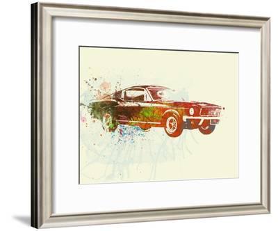 Ford Mustang Watercolor-NaxArt-Framed Art Print
