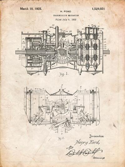 Ford Railcar Transmission Gearing 1925 Patent Print-Cole Borders-Art Print