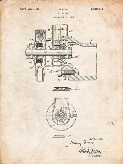 Ford Water Pump Patent-Cole Borders-Art Print
