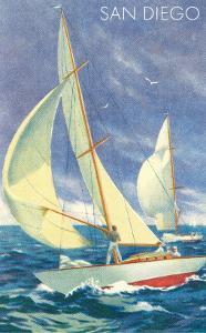 Foredeck Man in Sailing Race, San Diego, California