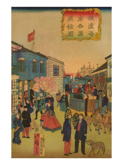 Foreign Business District in Yokohama (Yokohama Kaigan Kakkoku Shokan Zu) No.2-Ando Hiroshige-Art Print