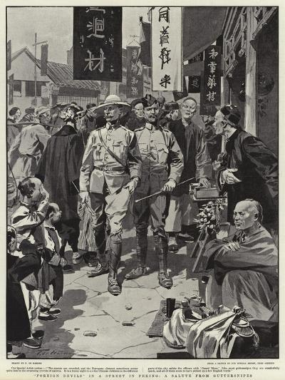 Foreign Devils in a Street in Peking, a Salute from Guttersnipes-Frederic De Haenen-Giclee Print