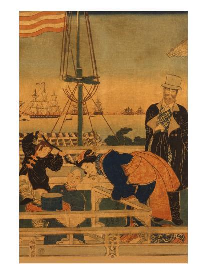 Foreign Mercantile House in Yokohama (Yokohama Ijin Shokan No Zu) No.1-Sadahide Utagawa-Art Print