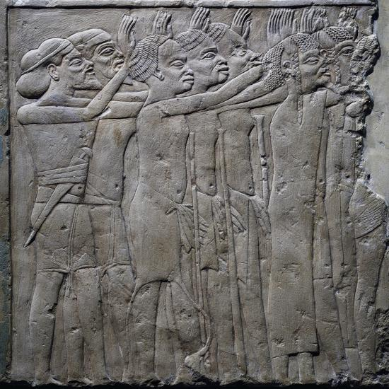 Foreign Princes Pay Tribute to Pharaoh Tutankhamun, Relief from Tomb of Horemheb, Saqqara--Giclee Print
