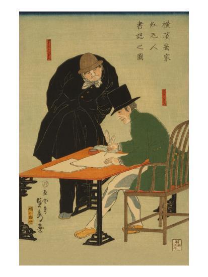 Foreigners in Yokohama Draw Up Contract in Mercantile House-Sadahide Utagawa-Art Print