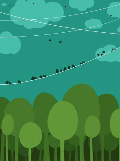 Forest and Birds Sitting on Wires Graphic Design. Nature Landscape Background. Vector Eps8 Illustra-Popmarleo-Art Print