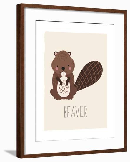 Forest Friends Beaver-Kindred Sol Collective-Framed Art Print