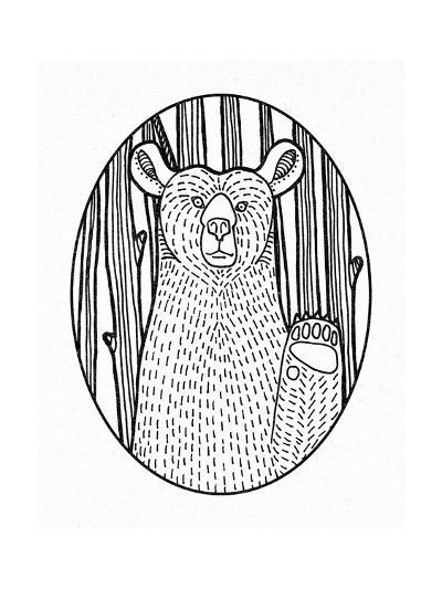 Forest Friends IV Black and White-Elyse DeNeige-Art Print