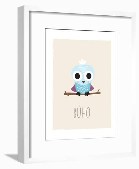 Forest Friends Owl (Spanish)-Kindred Sol Collective-Framed Art Print