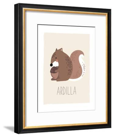 Forest Friends Squirrel (Spanish)-Kindred Sol Collective-Framed Art Print