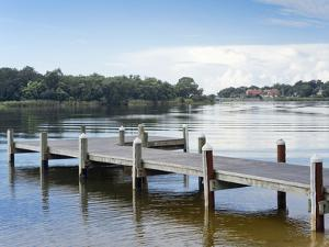 Fishing Pier and Boat Launch in Bayview Park on Bayou Texar in Pensacola, Florida in Blue Early Mor by forestpath
