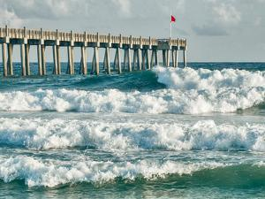 High Surf Day Preceding Tropical Storm. View of Pier and Ocean Waves in Pensacola, Florida. by forestpath