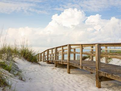 Inviting Boardwalk through the Sand Dunes on a Beautiful Beach in the Early Morning. Beautiful Puff