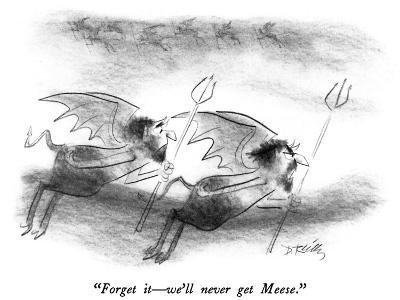 """""""Forget it?we'll never get Meese."""" - New Yorker Cartoon-Donald Reilly-Premium Giclee Print"""